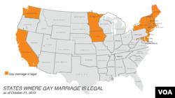 نقشے میں امریکہ کی ان ریاستوں کی نشاندہی کی گئی ہے جہاں ہم جنس شادیوں کو قانونی تحفظ حاصل ہے