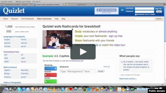 Quizlet helps language learners improve their knowledge of English words and terms.