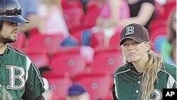 Justine Siegal, 1st base coach for Brockton Rox
