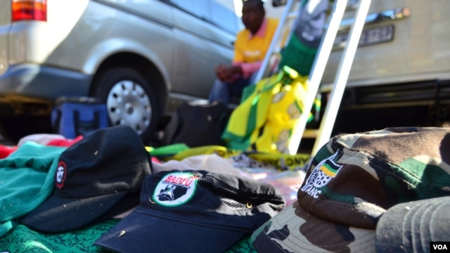 Some of the items of Collin Nkadimeng's stand on the street outside of the Medi-Clinic Heart Hospital in Pretoria, where former South African President Nelson Mandela has been treated since June 8. (Photo: Peter Cox / VOA)