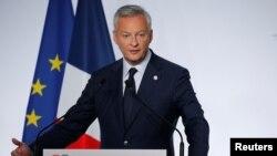 브뤼노 르메르 프랑스 재무장관이 18일 프랑스 파리 근교 샹티이에서 주요 7개국(G7) 재무장관회의에서 연설하고 있다.