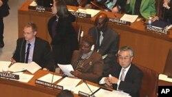 유엔 총회 제3위원회에 참석한 유엔주재 북한대표부 박덕훈 차석대사의 모습(2009.11.20)