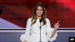 Melania Trump, wife of Republican Presidential Candidate Donald Trump speaks during the opening day of the Republican National Convention in Cleveland, July 18, 2016.