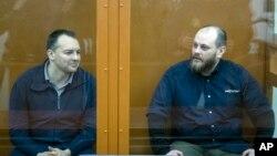 Сергей Михайлов и Руслан Стоянов на слушаниях в суде. Москва, Россия, 26 февраля 2019