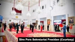 Suasana pelantikan menteri dan wakil menteri baru oleh Presiden Joko Widodo di Istana Negara, Rabu, 23 Desember 2020. (Foto: Biro Pers Sekretariat Presiden)
