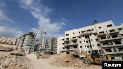 지난 13일 예루살렘 인근 유대인 정착촌에서 건설 작업이 진행 중이다.