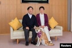 Putri Mahkota Masako dan Putra Mahkota Naruhito berfoto dengan anjing kesayangan mereka, Yuri, di Istana Togu di Tokyo, Jepang, 4 Desember 2018. (Foto: Reuters)