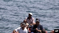 Cubans trying to migrate illegally to the US on a foam raft float are stopped by Coast Guard, (File)
