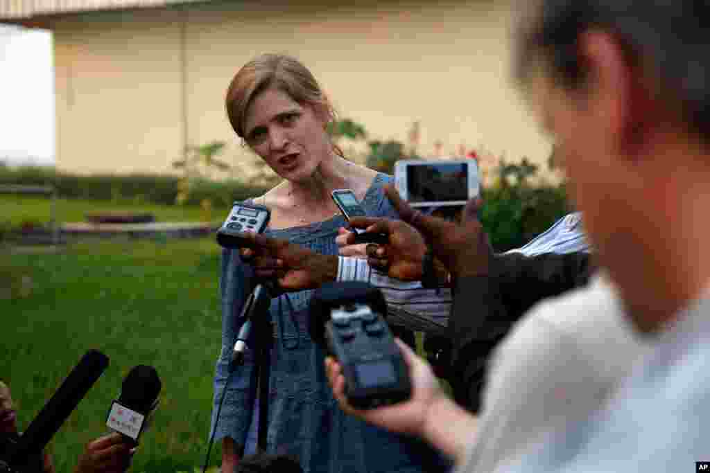 U.S. Ambassador to the United Nations Samantha Power answers questions at the airport in Bangui, Central African Republic, Dec. 19, 2013.