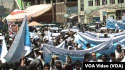 گوشه از تظاهرات امروزی کابل