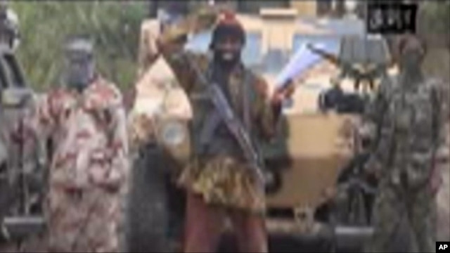 FILE - The leader of Nigeria's Islamic extremist group Boko Haram, Abubakar Shekau, speaks in this file image made from video received by The Associated Press on May 5, in which his group claimed responsibility for the April 15 mass abduction of nearly 30