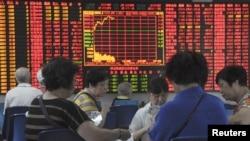 中国上海一股票证卷市场。