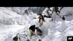 救援人员4月7日在寻找大规模雪崩的受害者