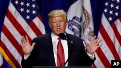Tổng thống Trump phát biểu tại một buổi lễ ngày 11/6/2019 tại thành phố West Des Moines, tiểu bang Iowa.