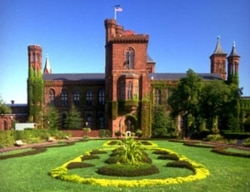 A view of the Smithsonian Castle in Washington