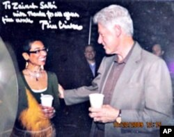 "President Clinton praised Zainab Salbi's ""fine work"" helping women in the war-torn Balkans"