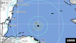 نقشے میں زلزلے کے مرکز کی نشان دہی کی گئی ہے۔