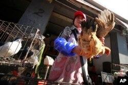 4月2日在上海一禽类批发市场一名摊贩手提一只鸡