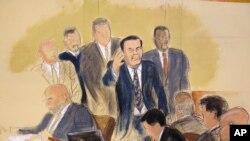 """Caricature de Joaquin """"El Chapo"""" Guzman, dans la salle d'audience de la Cour fédérale de Brooklyn à New York, le 13 novembre 201"""