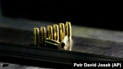 Hollow point bullets are displayed at a underground research facility at the University of Defense in Brno, Czech Republic, April 2016. (AP Photo/Petr David Josek)