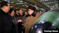 김정은 북한 국방위원회 제1위원장이 핵무기 연구 부문 과학자, 기술자들을 만나 핵무기 병기화 사업을 지도하는 모습을 지난 3월 조선중앙통신이 보도했다. (자료사진)