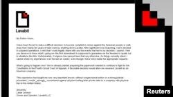 Lavabit.com website on August 9, 2013 shows a letter posted by Lavabit LLC owner Ladar Levison.