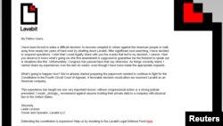 Situs Lavabit.com menampilkan surat yang ditulis oleh pemilik Lavabit LLC, Ladar Levison (9/8).