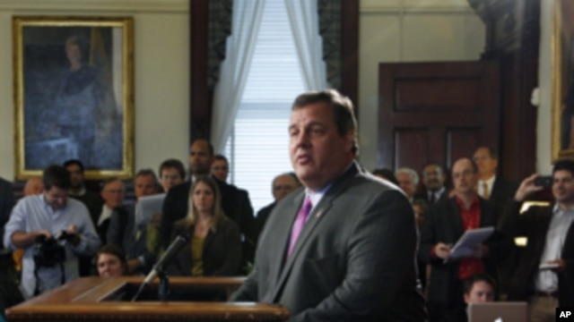 New Jersey Gov. Chris Christie announces that he will not run for president in 2012,  Oct. 4, 2011, at the Statehouse in Trenton, N.J.