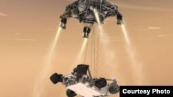"""""""好奇號""""火星探測器在火星著陸(資料圖片)"""