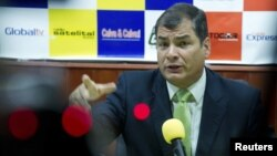 Presiden Ekuador Rafael Correa memberikan penjelasan alasan negaranya memberikan suaka kepada pendiri WikiLeaks, Julian Assange (17/8).