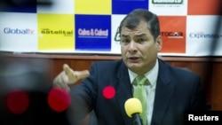 ປະທານາທິບໍດີເອກວາດໍ ທ່ານ Rafael Correa ໃຫ້ສຳພາດທີ່ເມືອງ Loja ປະເທດເອກວາດໍ (17 ສິງຫາ 2012) Ecuador,