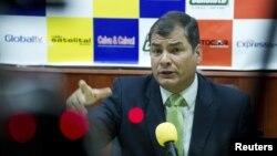 Tổng thống Ecuador Rafael Correa trả lời phỏng vấn tại Loja, Ecuador, ngày 17/8/2012.