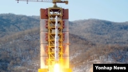 A picture showing North Korea's rocket launch in February. The launch was one reason the U.N. place new sanctions on North Korea.