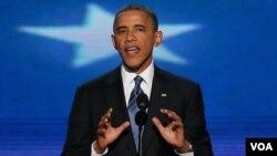 صدر اوباما ڈیموكریٹک نیشنل كنونشن میں تقریر کے دوران