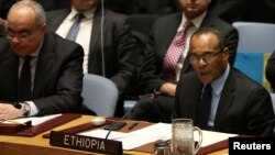 테케다 알레무 유엔주재 에티오피아대사가 지난 22일 북한에 대한 새 제재결의를 채택한 안보리 회의에서 발언하고 있다.