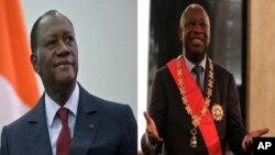 Shugaba Allassane Outara da Laurent Gbagbo