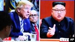 Президент США Дональд Трамп. Лидер Северной Кореи Ким Чен Ын