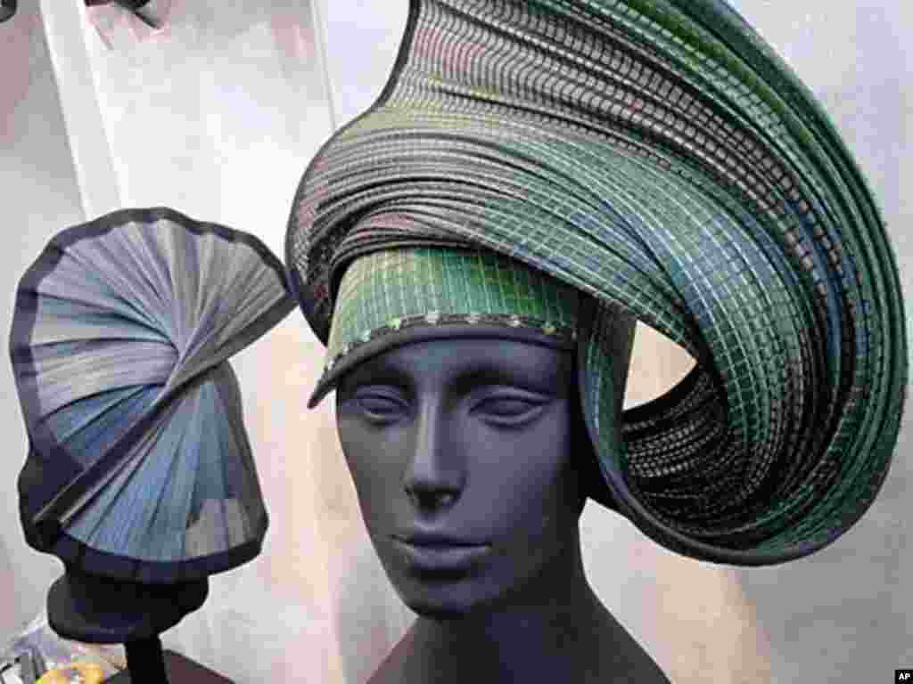 Hats by Kate Bishop of Bisbee, Arizona, are considered wearable art.