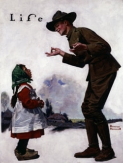 """Polley Voos Fransay? (Soldier Speaking to Little French Girl),"" 1917, from George Lucas' collection"