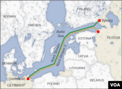 Map of the Baltic Sea showing the Nord and Nord 2 pipelines