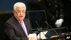 ປະທານາທິບໍດີ ອຳນາດການປົກຄອງ ປາແລສໄຕນ໌ ທ່ານ Mahmoud Abbas ພວມກ່າວຄຳປາໄສ ຕໍ່ກອງປະຊຸມ ສະມັດຊາໃຫຍ່ ອົງການສະຫະປະຊາຊາດ. (22 ກັນຍາ 2016)