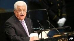 마흐무드 압바스 팔레스타인 자치정부 수반이 22일 뉴욕 유엔본부에서 열린 제71차 유엔총회에서 기조연설을 하고 있다.