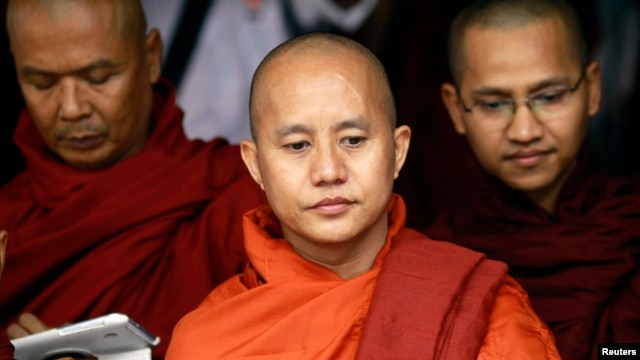 Buddhist monk Wirathu (C), leader of the 969 movement, June 27, 2013.