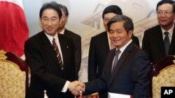 Ngoại trưởng Nhật Fumio Kishida (trái) bắt tay với Bộ trưởng Bộ Kế hoạch và Đầu tư Việt Nam Bùi Quang Vinh ngày 1/8/2014.