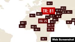 Mapa divulgado hoje pelo Comité de Protecção de Jornalistas
