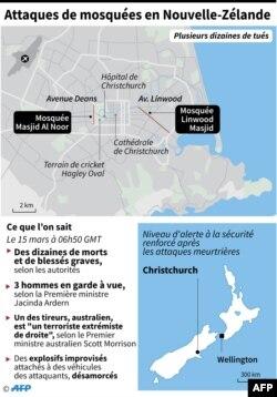 Carte de localisation de Christchurch en Nouvelle-Zélande où des dizaines de personnes ont été tuées et une vingtaine grièvement blessées dans des attaques contre des mosquées.
