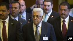 Palestinian President Mahmoud Abbas departs from the 67th the United Nations General Assembly, at U.N. headquarters, Sept. 25, 2012.