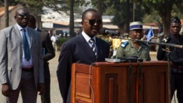 FILE - Alexandre-Ferdinand Nguendet, head of the Central African Republic's transitional assembly, is seen giving a speech in Bangui, Jan. 13, 2014.