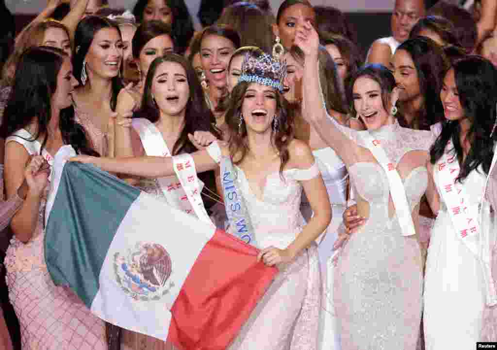 Miss Mexico Vanessa Ponce de Leon, 26, celebrates after winning the Miss World 2018 title in Sanya, Hainan island, China, Dec. 8, 2018.