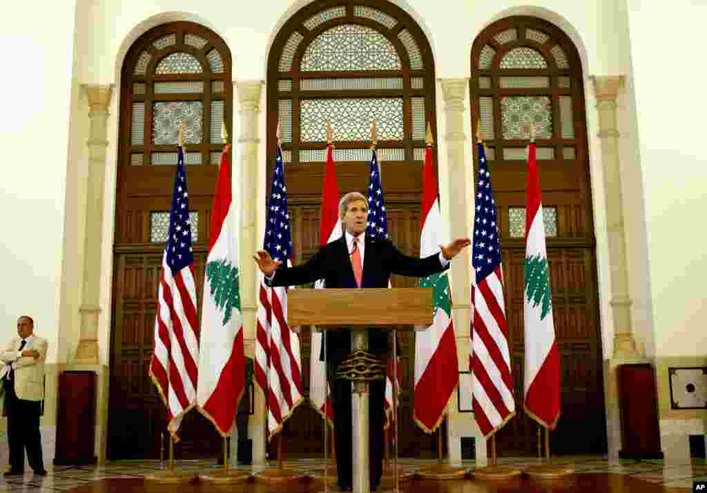 U.S. Secretary of State John Kerry speaks during a press conference after his meeting with Lebanese Prime Minister Tammam Salam, at the government palace in Beirut, June 4, 2014.